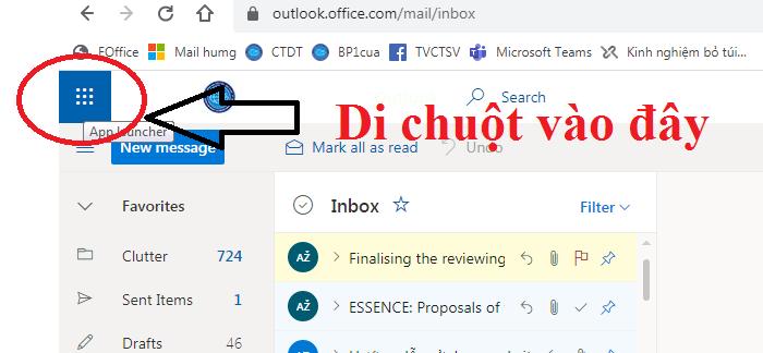 Bước 1: Truy cập Outlook